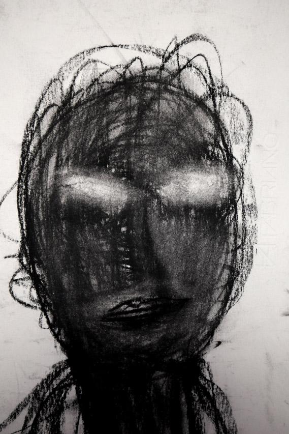 Antonio Panzuto - Autoritratto al buio - collage su carta - 100x70 cm